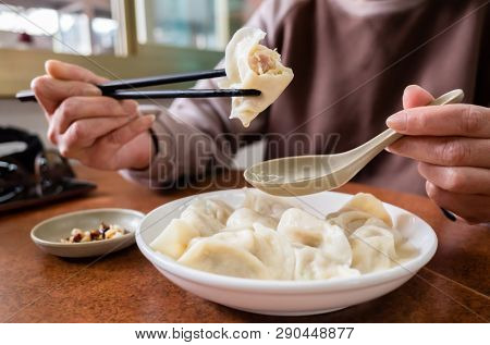 boiled jiaozi, Taiwan famous snack of Chinese dumpling