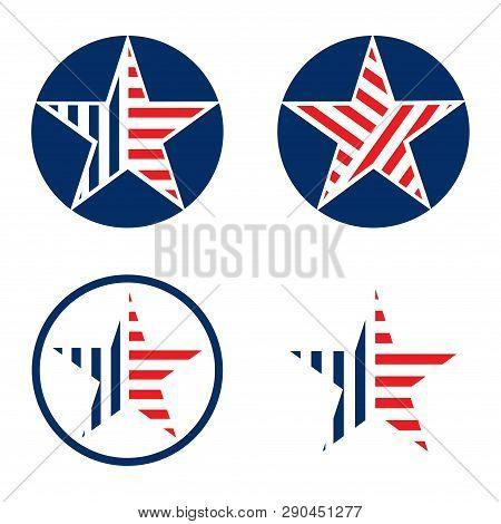 Circle Star American Flag Design Style Set