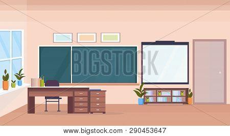 Modern School Classroom Interior Chalk Board Teacher Desk Empty No People Horizontal Banner Flat