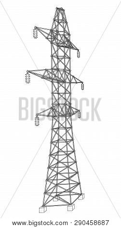 Electric Pylon Or Electric Tower Concept. Vector Rendering Of 3d. Wire-frame Style. The Layers Of Vi