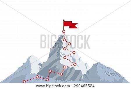 Mountain Climbing Route To Peak. Top Of The Mountain With Red Flag. Business Success Concept. Vector