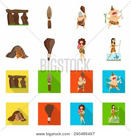 Isolated object of evolution  and prehistory logo. Set of evolution  and development  stock symbol for web. poster