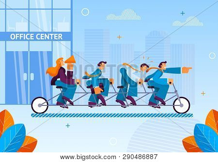 Team Managers Left For Business Meeting Office. Flat Vector Illustration On Blue Background. Eam Rea