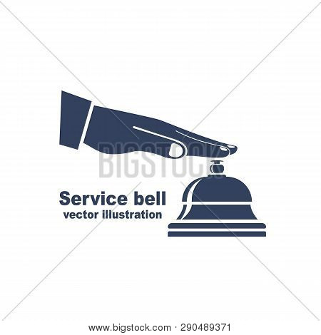 Silhouette Male Hand Pressing Service Bell. Icon Service Bell, Flat Design Style. Vector Illustratio