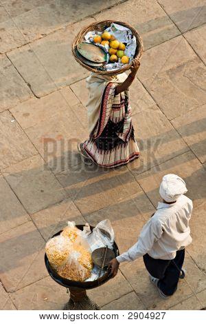 Two Peoples Working On The Ghat, Varanasi (Benares)