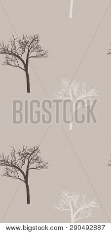 Provence Style: Seamless Pattern In Cute Trees On Burlap Fond. Winter Print For Textile, Fabric Manu