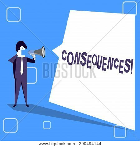 Handwriting text writing Consequences. Concept meaning Result Outcome Output Upshot Difficulty Ramification Conclusion Businessman Shouting on Megaphone and Blank White Uneven Shape Speech Bubble. poster