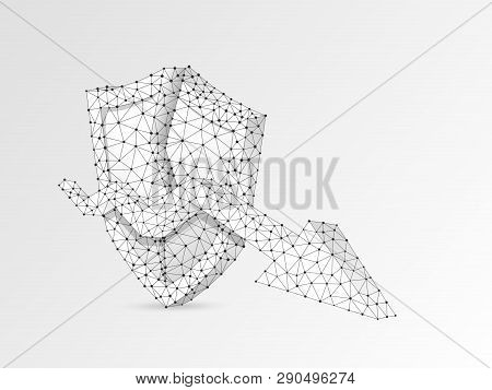Downtrend Arrow On Broken Security Shield Abstract Origami 3d Illustration. Polygonal Vector Busines