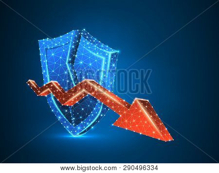 Downtrend Arrow On Broken Security Shield Abstract Neon 3d Illustration. Polygonal Vector Business C