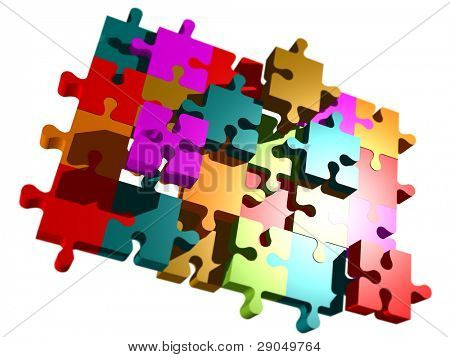 puzzle pieces on white isolated