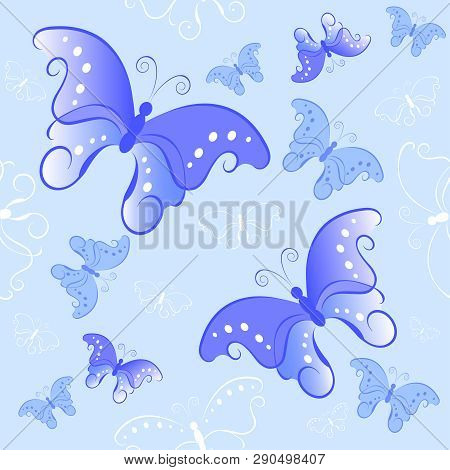 Light Blue Seamless Pattern With Butterflies. Background.