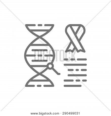 Dna Molecule With Cancer Cells, Malignant Tumor, Oncology Line Icon.
