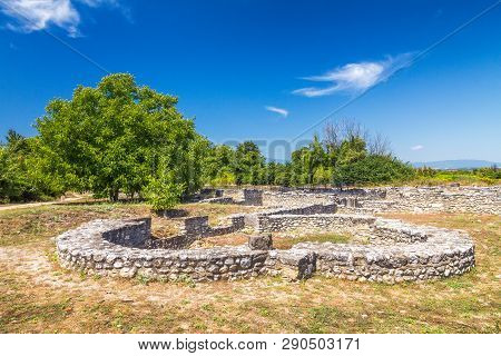 The Archaeological Park Of Dion, Located At Foot Of Mount Olympu