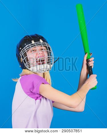 Baseball Female Player Concept. Ready Repel Attack. Woman Enjoy Play Baseball Game. Woman In Basebal
