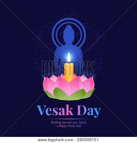 Happy Vesak Day Banner With Lotus Lamp Light For Worshiping The Buddha  On Dark Blue Background Vect