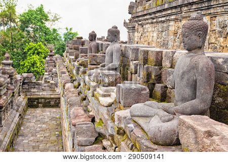 Buddah Statues In Borobudur Mahayana Temple In Java