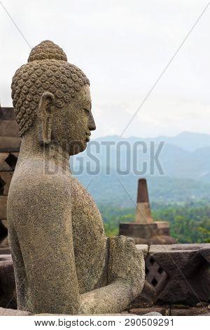 Buddah Statue In Borobudur Buddhist Temple In Java