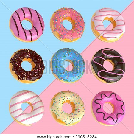 Set Of Cartoon Colorful Donuts Isolated On Blue And Pink Background. Donuts Collection Into Glaze Fo