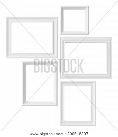 White blank photo frames isolated on white background, white colorless picture frames template set, photoframe mock-up 3D illustration poster