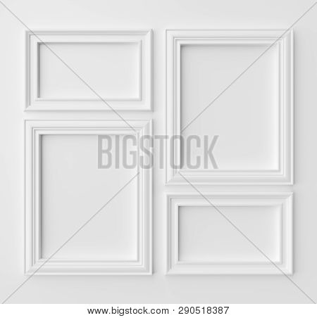 White Blank Frames For Photo On White Wall With Shadows, White Colorless Picture Frames Template Set