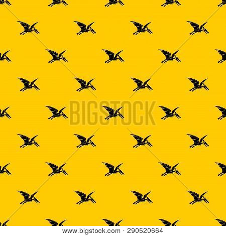 Pterosaurs Dinosaur Pattern Seamless Vector Repeat Geometric Yellow For Any Design