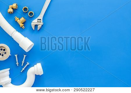 Plumber Work With Instruments, Tools And Gear On Blue Background Top View Mock Up