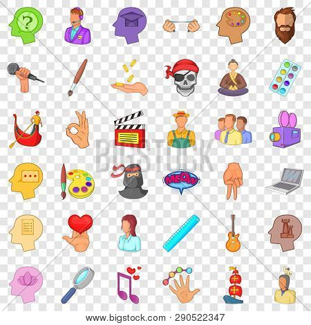 Creative Occupation Icons Set. Cartoon Style Of 36 Creative Occupation Vector Icons For Web For Any