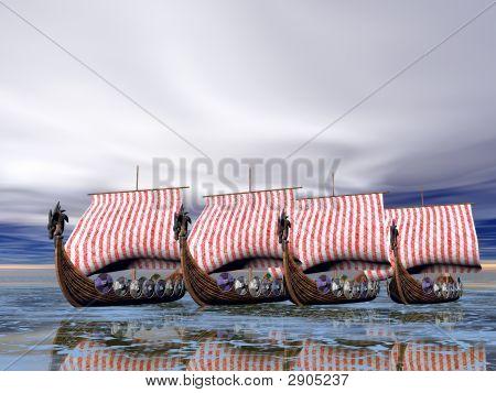 Viking Fleet Of Ships