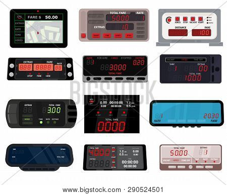 Taximeter Vector Cab Car Fare Taxi Meter Device Equipment Measurement Illustration Set Of Auto Dista