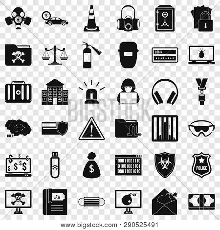 Computer Crime Icons Set. Simple Style Of 36 Computer Crime Vector Icons For Web For Any Design