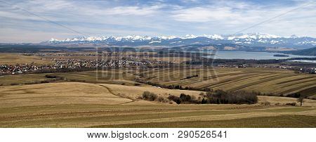 Reservoir Oravska Priehrada And High Tatras Mountains In Region Orava, Slovakia. Panoramic Landscape
