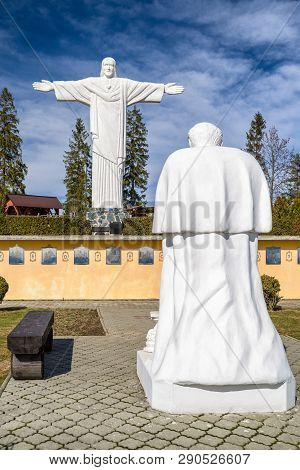 Klin, Slovakia - March 17: Monumental Statue Of Jesus Christ Called Rio De Klin On Hill Grapa On Mar