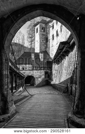 Drawbridge In Orava Castle, Slovakia. Black And White Photography