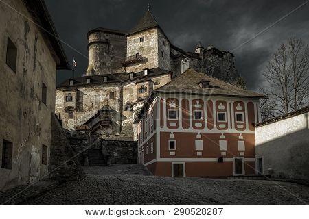 Courtyard In Orava Castle In Village Oravsky Podzamok, Slovakia.