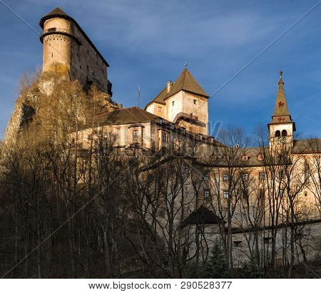 Orava Castle In Village Oravsky Podzamok, Slovakia