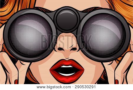 Color Vector Pop Art Style Illustration Of A Girl Looking Through Binoculars. Female Surprised Face