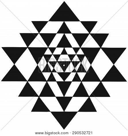 Mandala Sri Yantra Chakra Tantra Spirituality Esoteric Zen Illustration Black White