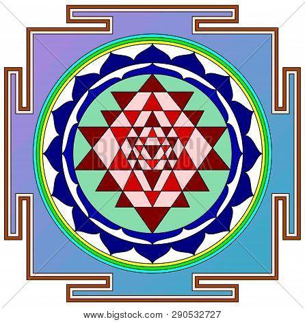 Mandala Sri Yantra Chakra Tantra Spirituality Esoteric Zen Illustration