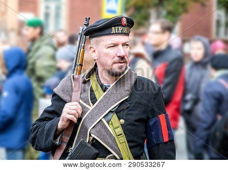 Samara, Russia - October 6, 2018: Unidentified Member Of Historical Reenactment Battle In Navy Unifo