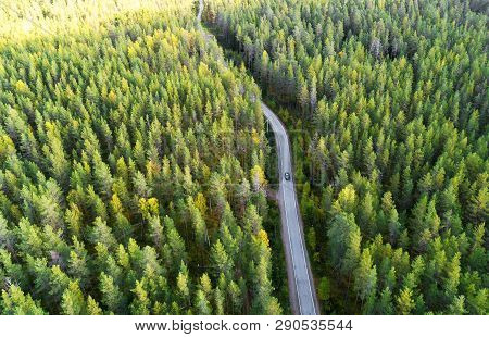 Aerial View Of A Country Road In The Forest With Moving Cars. Beautiful Landscape. Captured From Abo