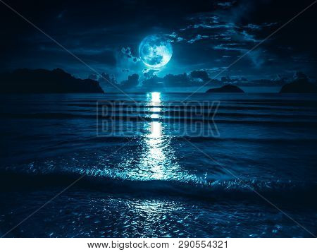 Super Moon. Colorful Sky With Bright Full Moon Over Seascape. Serenity Nature Background, Outdoor At