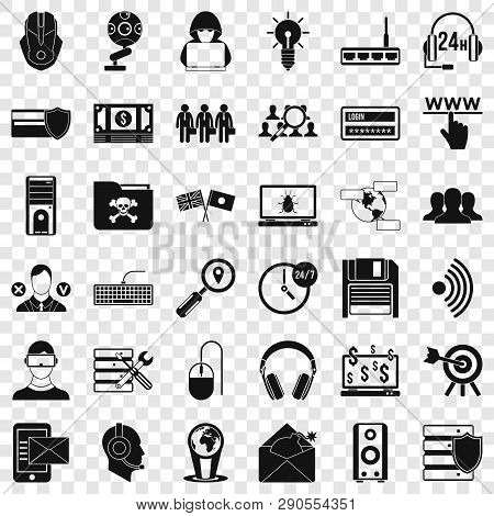 Cyber Crime Icons Set. Simple Style Of 36 Cyber Crime Vector Icons For Web For Any Design