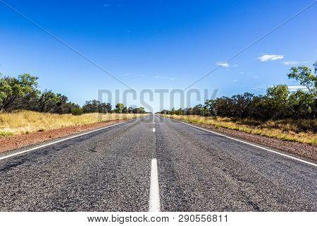 Straight Road Through The Dessert Of Australia, South Australia, Stuart Highway Australia