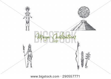 Maya Civilization - Maya People, Tools And Pyramid Vector Concept Set. Hand Drawn Sketch Isolated Il