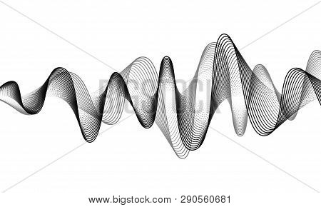 Digital Sound Wave Vector Banner Background. Audio Music Soundwave. Voice Frequency Form Illustratio