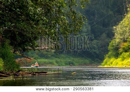 People Boating On River Gauja In Latvia, Peacefull Nature Scene. By Boat Through The River. Boat Tri