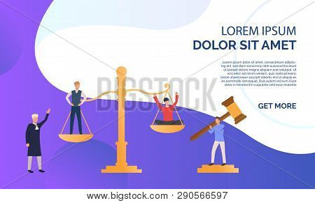 Judgement of people presentation illustration.People standing on scales, federal judge watching on them. Law concept. Vector illustration can be used for topics like presentation, sociality, law court poster