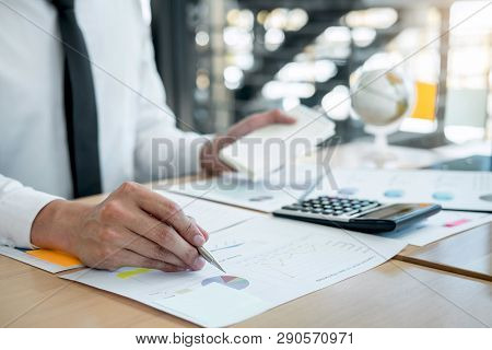 Businessman Accountant Working Analyzing And Calculating Expense Financial Annual Financial Report B