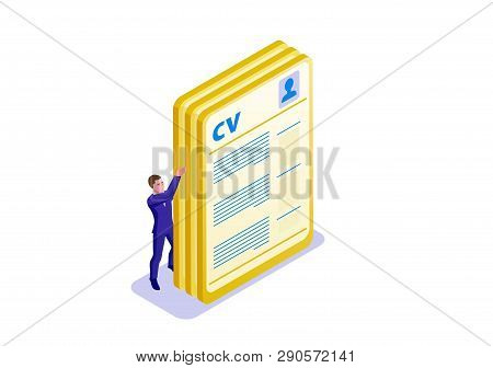 Cv Isometric Infographic Template With 3d Man Holding A4 Format Paper With Biography Or Resume, Empl