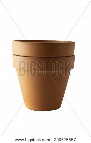 Orange Ceramic Pot On White Background. Terra cota poster